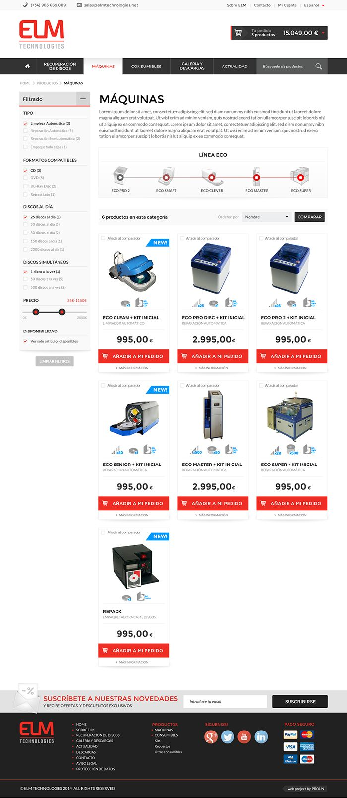 Diseño web de la tienda online de ELM TECHNOLOGIES.