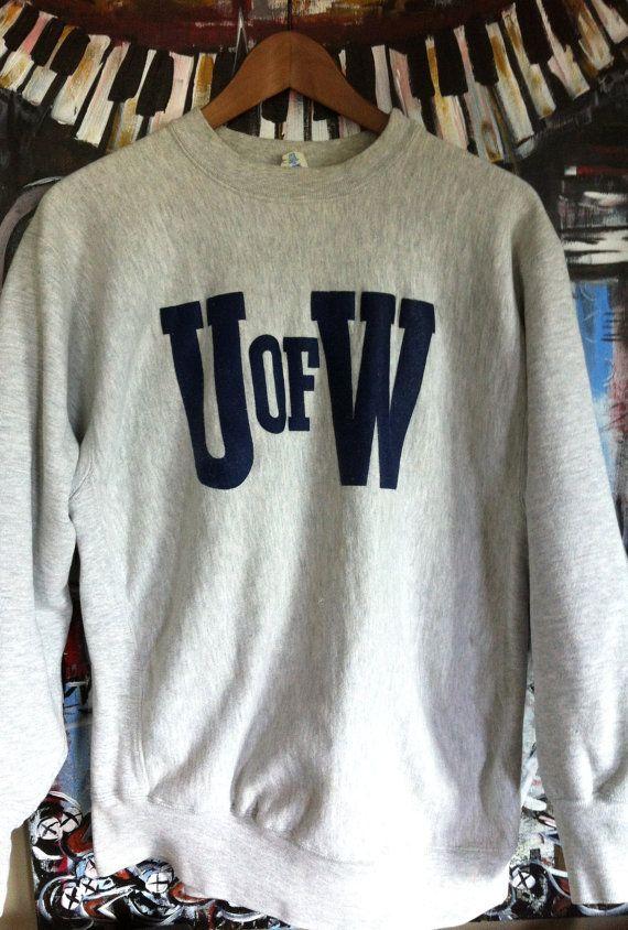 Vintage 80's University of Washington Champion Gray Reverse Weave Sweatshirt XL Rayon Blend Grunge Punk Worn Hip Hop Heathered