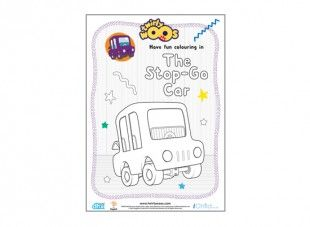 Your little one can have lots of fun colouring in the Stop-Go Car. Then make him go round and round or back and forth very fast!