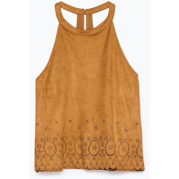Zara Cut Work Faux-Suede Top ($23) ❤ liked on Polyvore featuring tops, blusas, tank tops, shirts, t-shirts, camel, zara tank top, faux suede shirt, shirts & tops and beige tank top