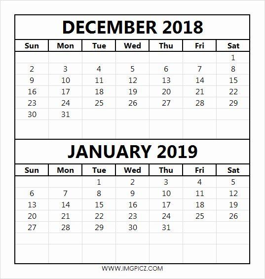 Dec Jan 2018 Calendar December 2018 Calendar Pinterest