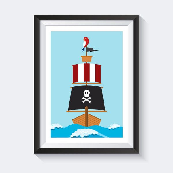 Drucke & Plakate - Piraten Bild - Piraten Bilder - Kinderzimmer Bilder - Poster Kinderzimmer - Poster für das Kinderzimmer - Kinderbilder - Poster maritim - Piraten Kinderzimmer - Wanddeko Kinderzimmer - Bilder maritim - in cooperation designed by vecteezy.com ---> erhältlich bei http://de.dawanda.com/shop/SmoX
