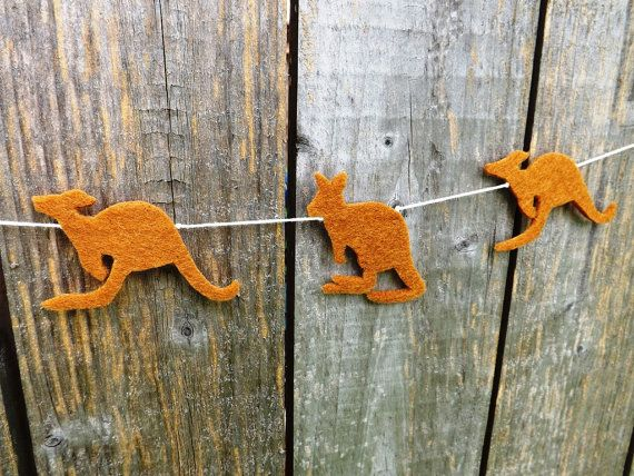 A sweet jumping Kangaroo garland made from thick high quality acrylic craft felt.   The garland is available in two lengths: The MINI VERSION is made