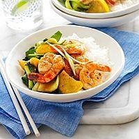 Crevettes Sichuan et légumes sautés