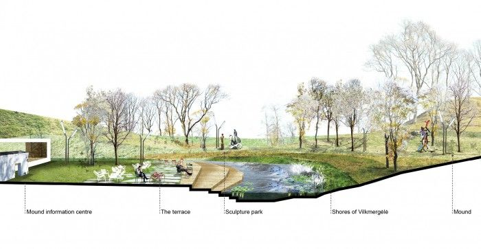 Terrace of Ukmergė is a design proposal suggesting how to create cosy and attractive green public space next to the mound park in Ukmergė town.