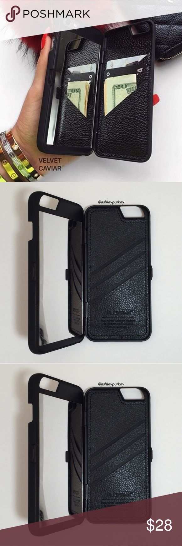 "black mirror wallet iPhone 6 Plus phone case •size: iPhone 6 Plus (5.5"") •features: 3 card slots and a mirror on the inside. closes/opens shut. •no trades •not from Brandy Melville. brand listed for visibility. real brand: B-Long Boutique Brandy Melville Accessories Phone Cases"