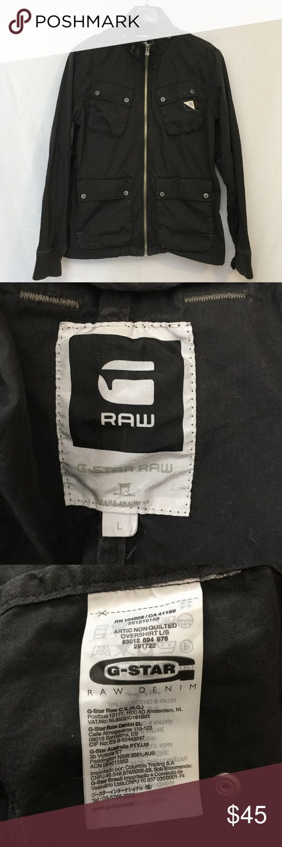 "G-STAR RAW Zip Utility Cotton Jacket Distressed G-STAR RAW Mens Dark Gray Zip Utility Cotton Jacket Distressed Size Large  100% Cotton. Medium weight. Lots of logo details. Distressed wash. Cuffs have thumb holes but one of cuffs needs some repair as seen in last two photos. Otherwise jacket is in excellent condition.  MEASUREMENTS  Length 27""  Sleeves 26""  Underarm to underarm 21""  Quick shipping! WE SHIP EITHER THE SAME BUSINESS DAY OR NEXT. ORDERS ON WEEKENDS ARE IN MAIL BY MONDAY…"