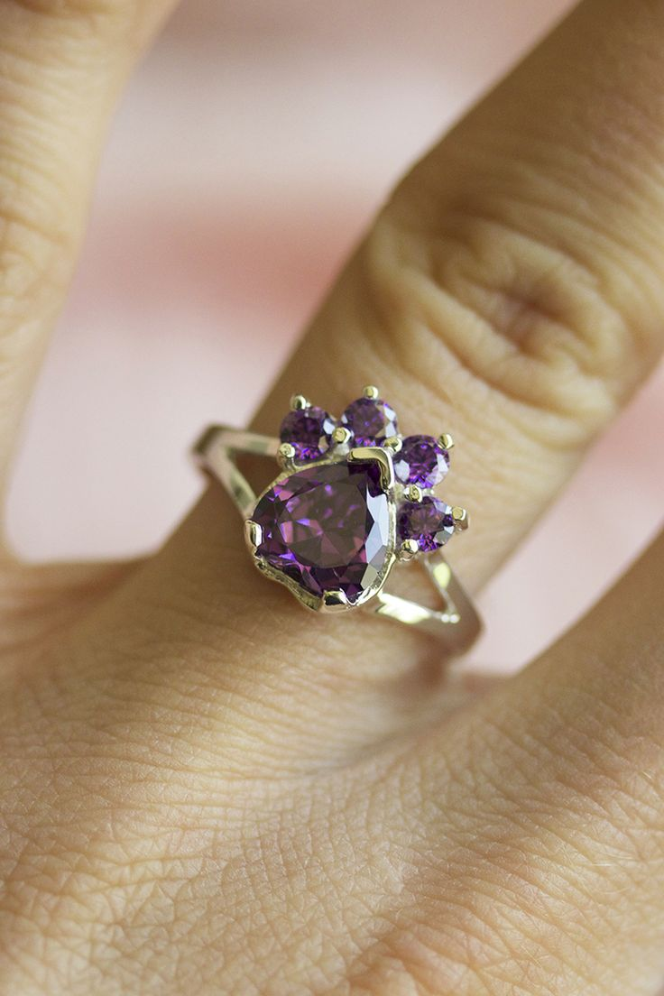Paw Print Birthstone Sterling Ring | Animal Rescue Jewelry ...