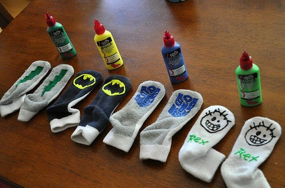 Puffy fabric paint on socks to make them non slip- um why did I just buy expensive ones?