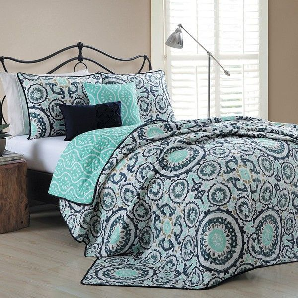 Avondale Manor Leona 5-piece Quilt Set, Blue ($100) ❤ liked on Polyvore featuring home, bed & bath, bedding, quilts, blue, king size pillow shams, queen pillow shams, king bedding, king size quilt sets and blue shams