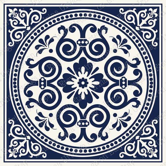 Ensemble De 4 Carreaux De Mosaique Art Mural Printable Motif Etsy Tile Wall Art Printable Art Tile Art