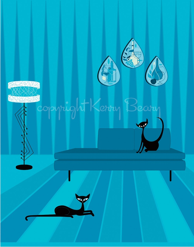 Mid Century Modern Art - Tart and Vicar Cats by Kerry Beary.
