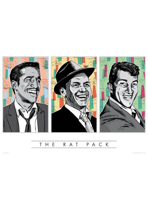 Rat Pack Poster Wall Art Hand Ilration Pop