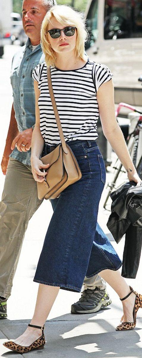 Emma Stone: Purse – Gucci  Shirt – Atea Oceanie  Sunglasses – Oliver Peoples  Shoes – Louise et Cie