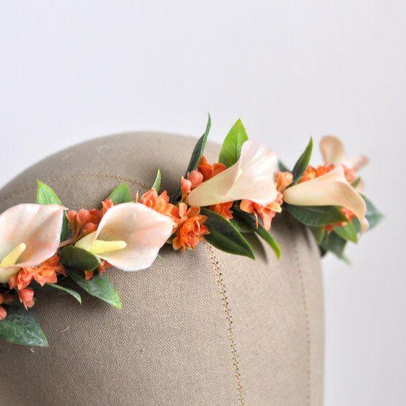 Peach Pink and White Hair Crown, Goddess Hair Crown, Calla Lily Flower Headband