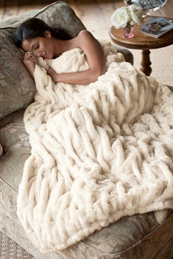 Lush, plush and soft beyond imagining, this faux fur throw is perfect for cuddling up with a cup of tea. | Soft Surroundings
