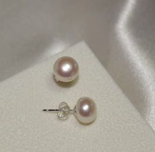 8-9mm White AA quality Fresh Water Pearl Studs (925 sterling silver stud) $8.00 at www.bonnybombons.com.au