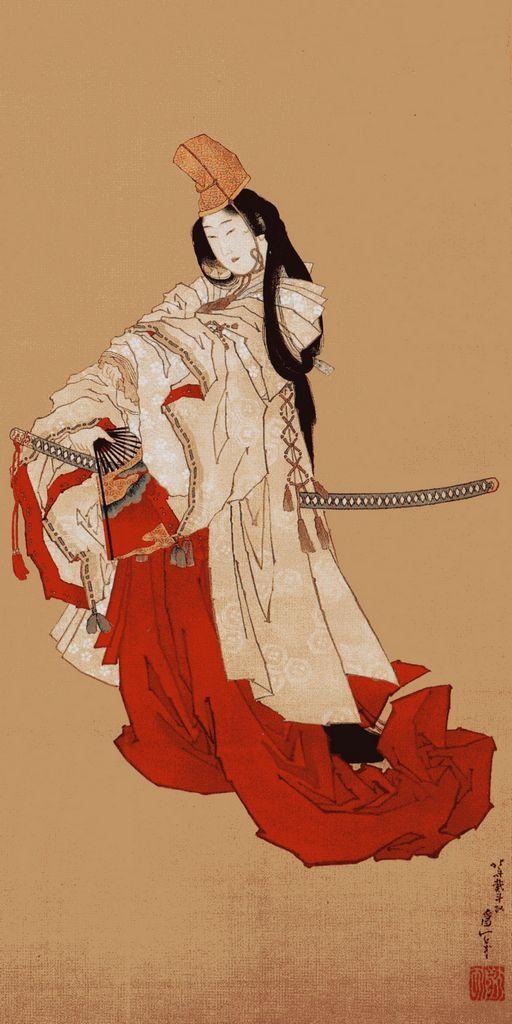 Katsushika Hokusai - Shizuka-gozen in her farewell dance to Yoshitsune 吉野山 峰の白雪踏み分けて 入りにし人のあとぞ恋しき しずやしず しずのおだまき繰り返し むかしを今になすよしもがな
