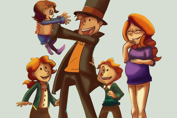 If Professor Layton and Claire had a family together. Geez, that's a lot of kids and there's another one coming seeing that Claire is pregnant, LOL! This is so cute, I really wished this happened.