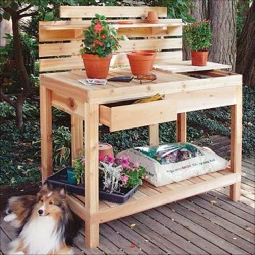 Reclaimed Pallet Work Bench for Garden