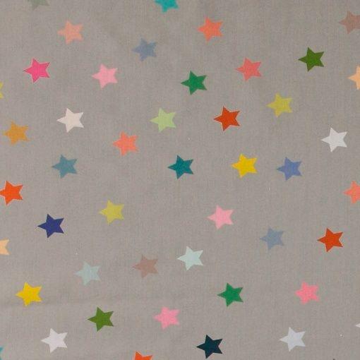 Bomull grå m multifarget stjerner