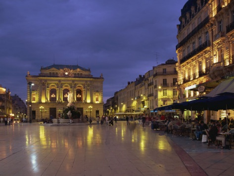 I celebrated Bastille Day in the charming seaside town of Montpellier, which has a very old history and a fanciful mix of medieval and 19th C. architecture.  Here is a picture of the Place de la Comédie at the city center. It's crowded in the summer evenings as many patrons come to enjoy food, drinks and other diversions offered by quite a few cafés, boites de nuit and discos.