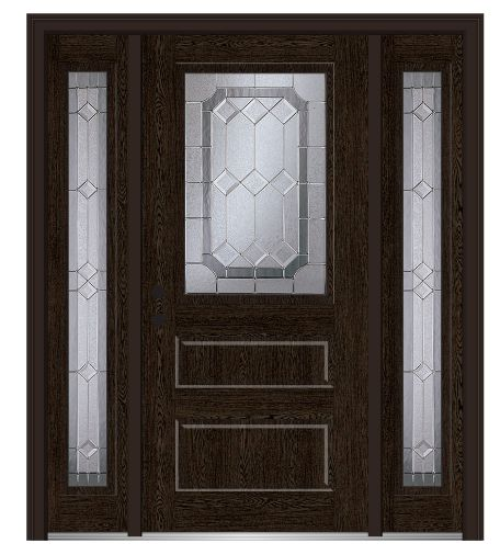 Shown is a Majestic Elegance 1/2 Lite Horizontal 2-Panel Fiberglass Oak Entry Door with Sidelites Stained Espresso. Like what you see? Check out DoorBuy.com!