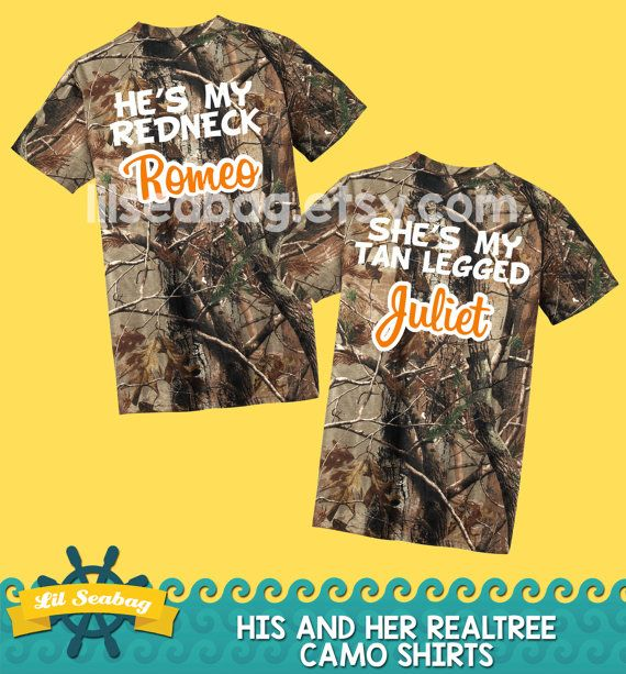 Mr and Mrs Camo Shirts Redneck Romeo Tan Legged Juliet