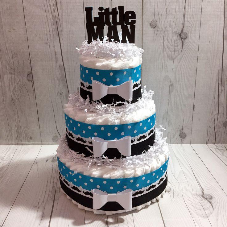Blue & Black Little Man Diaper Cake