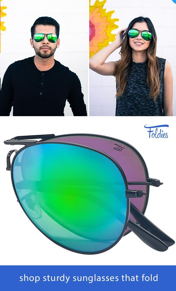 39d3d9807 Shop new Aviator Sunglasses by Foldies. Comes with a 2 Year Warranty. Shop  styles including gold frame sunglasses, polarized mirror lenses, aviators  and ...