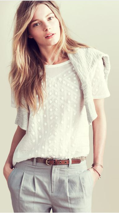 relaxedFashion, Laid Back Style, Clothing, Shirts, Offices Style, Grey Pants, White Blouses, Work Outfit, Pleated Pants