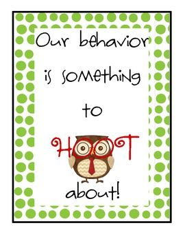 Owl behavior chart with labels to be glued to clothes pins.  See www.thegototeacher.blogspot.com for the corresponding weekly behavior chart to com...