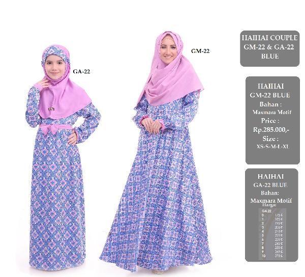 Jual beli Baju Sarimbit Couple Gamis HAIHAI GM-22 & GA-22 BLUE di Lapak Aprilia Wati - agenbajumuslim. Menjual Baju Muslim Couple - Baju Sarimbit Couple Gamis HAIHAI GM-22 & GA-22 BLUE Harga : Rp. 555.000  Keterangan  GAMIS GM-22 BLUE HARGA : Rp. 285.000 Bahan Maxmara motif Size : XS - S - M - L - XL - XXL  Baju Gamis Anak HAI-HAI GA-22 BLUE HARGA : Rp. 270.000 Bahan maxmara motif SIZE : 0 - 10  Harga: GA 22 Size 0 : Rp. 175.000 Size 1 : Rp. 185.000 Size 2 : Rp. 190.000 Size 3...