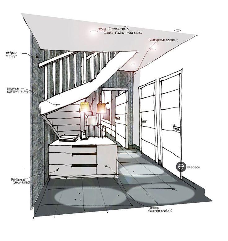 Les 25 meilleures id es de la cat gorie croquis for Dessin architecte interieur