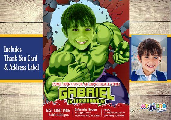Turn your boy into Hulk Hulk Invitation Incredible by MyHeroAtHome