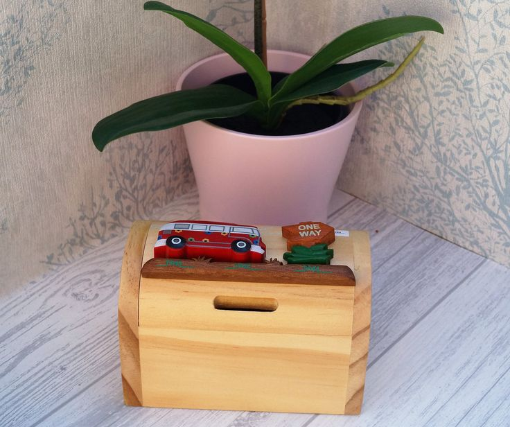 Childrens wooden money box, personalised money box, bus money box, treasure chest money box, childrens birthday gift, vehicle moneybox, by celebrateyourway on Etsy