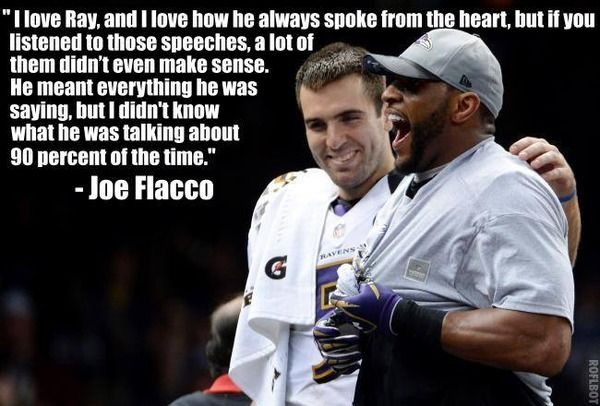 Joe Flacco's quote about Ray Lewis is - Faux John Madden's Photos - LockerDome