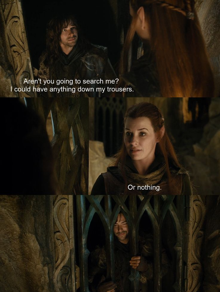 The Hobbit: The Desolation of Smaug. Kili & Tauriel ~ They had me shipping them from the moment this scene happened. :)