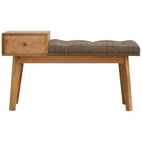 1 Drawer Tweed Bench Console Table Limited Time Offer Modern