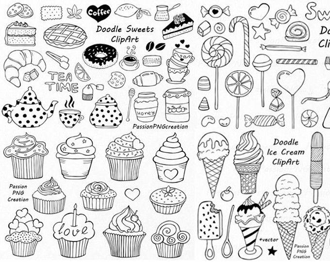 Grote Set van Doodle snoep clipart, thee tijd illustraties, Dessert Doodles, PNG, EPS, AI, Vector, ijs, voor persoonlijke en commerciële gebruik