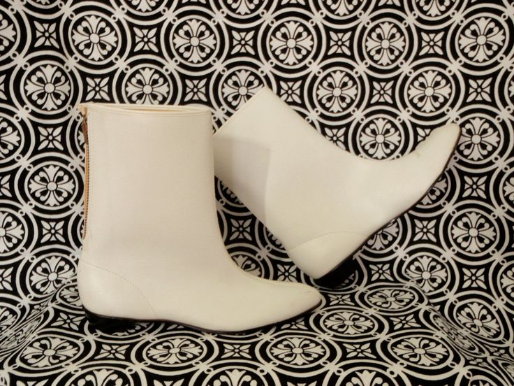 """Go Go Boots 1960s - Carla and I had these exact white Go-Go Boots!  Per Wikipedia """"Female dancers on the TV shows Hullabaloo and Shindig also wore the short, white boots"""".  Later on these boots got taller and taller, but we had the short chunky flat heeled ones like these - and loved them!"""