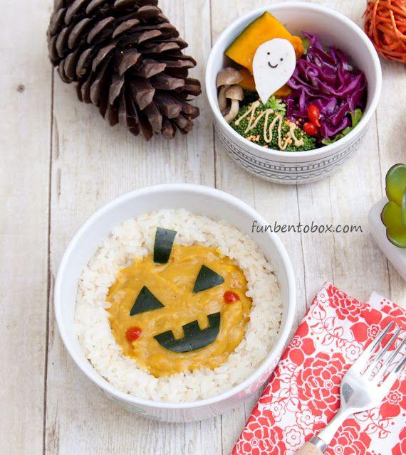 Pumpkin Curry Bento for Halloween ~Vegan~  Good lunch idea for kids:)