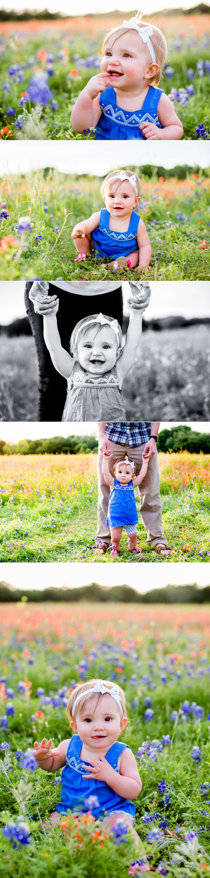A baby girl in a field of bluebonnets in Waco, Texas. The setting sun and her big smile make for a beautiful milestone portrait.