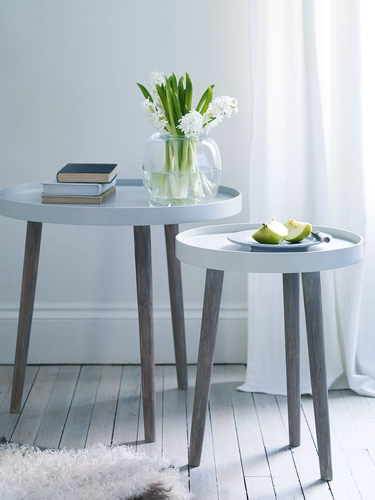 Side tables from Cox & Cox (£65 for small, £95 for large) - 50cm and 55cm high (I wonder whether the small one would go under the big one?