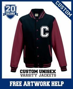customized varsity jacket sweatshirt with text image custom print