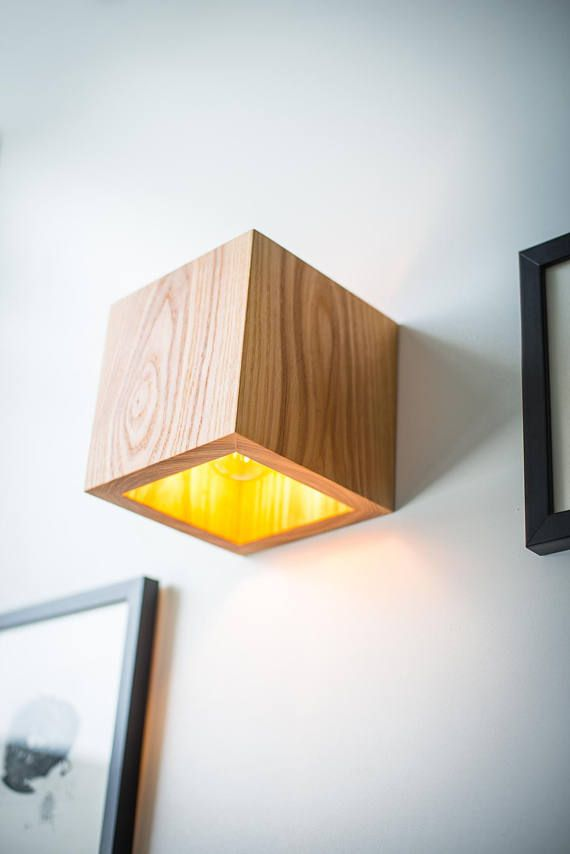 Wood Lamp Q 399 Handmade Wall Lamp Wooden Lamp Sconce Wall Light Minimalist Lamp Interior Decoration Wood Decor Cube Wood Sconce Wood Lamps Wooden Lamp Wood Sconce