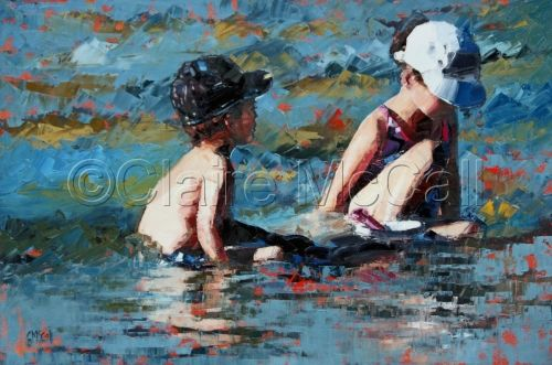 """""""Time is a game played beautifully by children."""" Heraclitus. 'Playing In The Shallows III' painting by Claire McCall"""