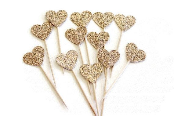 Cupcake Toppers. Gold Glitter Hearts. Pack of Twelve. Wedding - Engagement - Formal Function