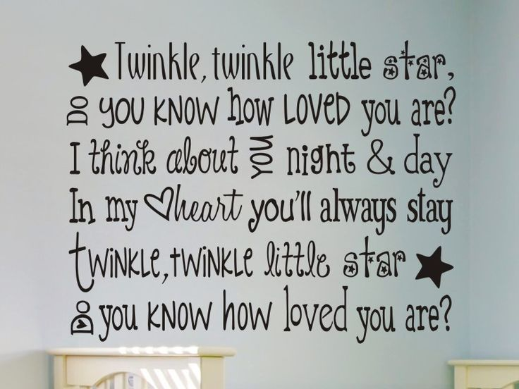 Twinkle Twinkle Little Star Nursery Wall Decal. For my little angels..Aubrey, Elise, and Carter!