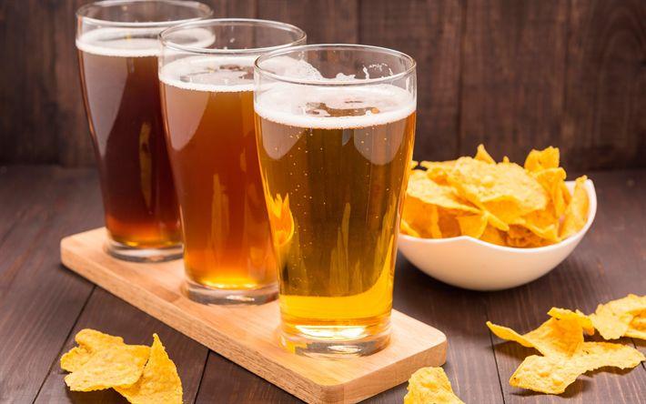 Download wallpapers Beer, glasses with beer, potato chips, dark beer, light beer